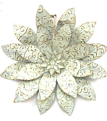 Hello Spring 3D Embossed Flower-Silver