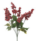 Blooming Holiday 15\u0027\u0027 Holly Leaves & Snow Berry Bush-Red