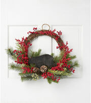 Blooming Holiday 20'' Berry, Cedar, Pine & Bear Wreath-Red & Green, , hi-res