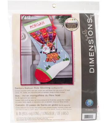 "Santa's Balloon Ride Stocking Needlepoint Kit 16"" Long Stitched In Yarn"