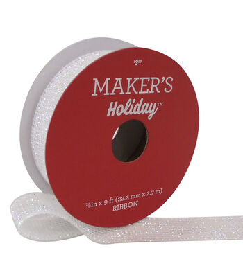 Maker's Holiday Christmas Glitter Mesh Wired Ribbon 7/8''x9'-White