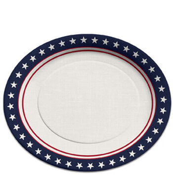 Americana Patriotic 8 pk Oval Plates-Stars