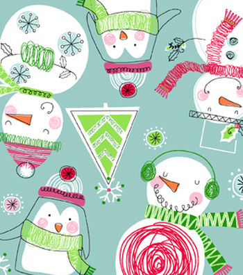 "Snuggle Flannel Fabric 42""-Scribbled Snowmen"