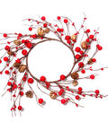 Blooming Holiday Berry & Pinecone Mini Wreath-Red