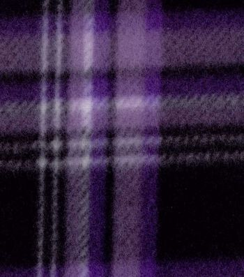 "Blizzard Fleece Fabric 58""-Purple Black Plaid"