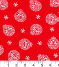 Keepsake Calico Christmas Cotton Fabric-Reindeers In Ornaments Red