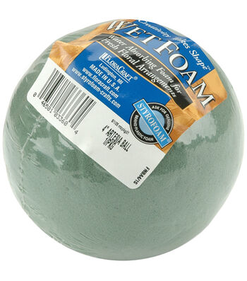"""Floracraft Wet Foam Ball 4"""" 1/Pkg-Green"""