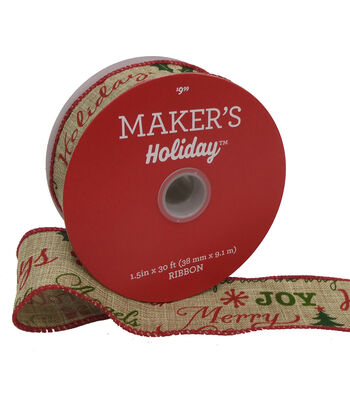 Maker's Holiday Christmas Linen Ribbon 1.5''x30'-Red & Green Script