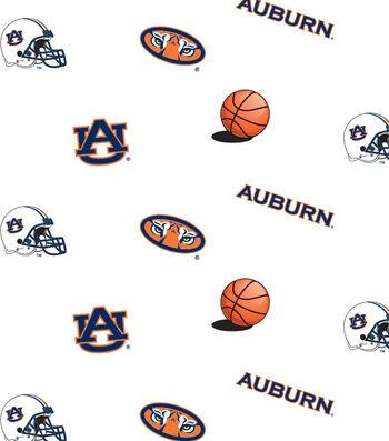 "Auburn University Tigers Cotton Fabric 44""-White All Over"