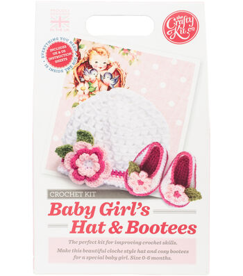 The Crafty Kit Co. Crochet Kit-Baby Girls Hat & Bootees