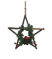 Maker's Holiday Woodland Lodge Wood Star with Cardinal Ornament, , hi-res
