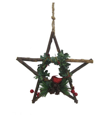 Maker's Holiday Woodland Lodge Wood Star with Cardinal Ornament