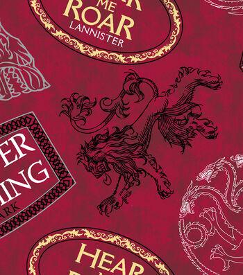 Game Of Thrones Fleece Fabric 59''-House Mottos