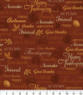 Harvest Cotton Fabric 43\u0022-Thanksgiving Words Rust