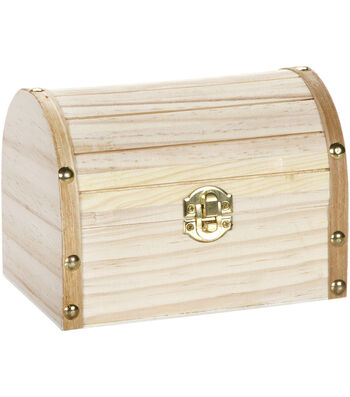 """Wood Chest Hinged W/Clasp 6.1""""X4.1""""X4.3"""""""