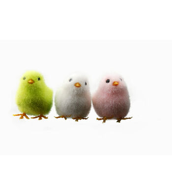 Easter Pack of 3 Chick Ornaments-White, Pink & Green