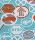 Blizzard Fleece Fabric Blue Orange Traffic Signs