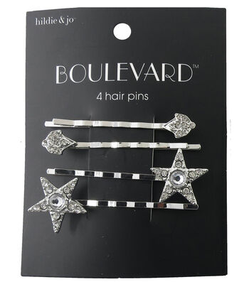 hildie & jo™ Boulevard 4 Pack Star & Diamond Silver Hair Pins
