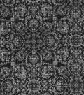 Vintage Cotton Fabric 43\u0027\u0027-Floral Medallions on Black