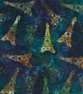 Legacy Studio™ Batik Cotton Fabric 44\u0027\u0027-Eiffel Tower on Blue