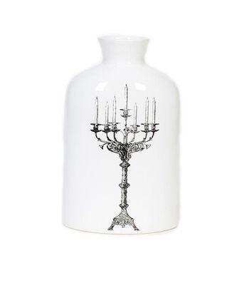 Maker's Halloween Stoneware Ceramic Vase-Candelabra on White