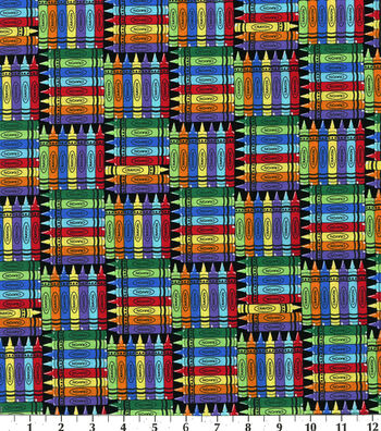 Novelty Cotton Fabric-Back To School Crayons