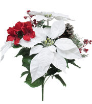 Blooming Holiday 19'' Poinsettia, Hydrangea & Berry Spray-White & Red, , hi-res