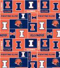University of Illinois Fighting Illini Fleece Fabric 58\u0022-Block