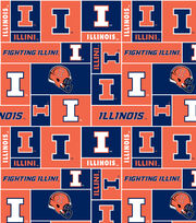 "University of Illinois Fighting Illini Fleece Fabric 58""-Block, , hi-res"