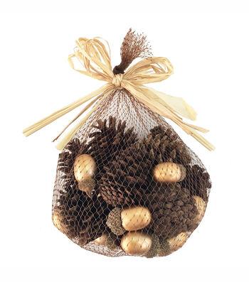 Blooming Autumn Pinecones & Acorns In Mesh Bag-Brown & Gold