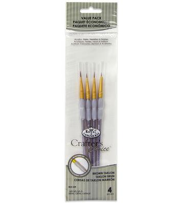 Royal & Langnickel® Detail Brush Set 4pk-Brown Taklon