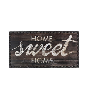 Wood Plaque with Metal Buttons 21.65''x11.8''-White Home Sweet Home