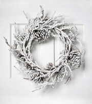 Blooming Holiday Christmas 24'' Pinecone Wreath with Snow-White, , hi-res