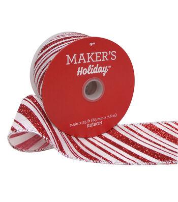 Maker's Holiday Glitter Ribbon 2.5''x25'-Red & White Diagonal Stripes