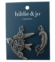 hildie & jo™ Bird & Feather Antique Silver Pendants, , hi-res