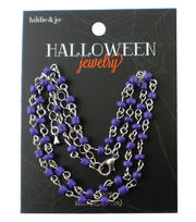 hildie & jo™ Halloween 18'' Silver Necklace-Purple Beads, , hi-res