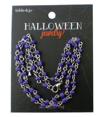 hildie & jo™ Halloween 18'' Silver Necklace-Purple Beads