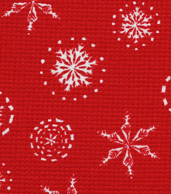 "Doodles Christmas Interlock Cotton Fabric 58""-Red Snowflakes Waffle"