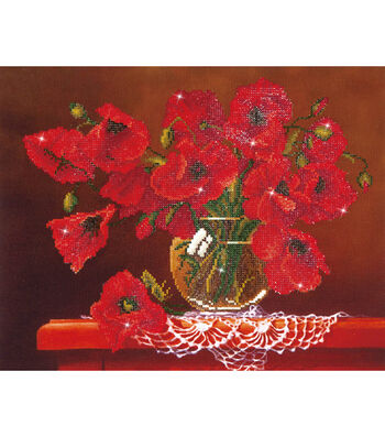 "Diamond Embroidery Facet Art Kit 23""X19""-Red Poppies"
