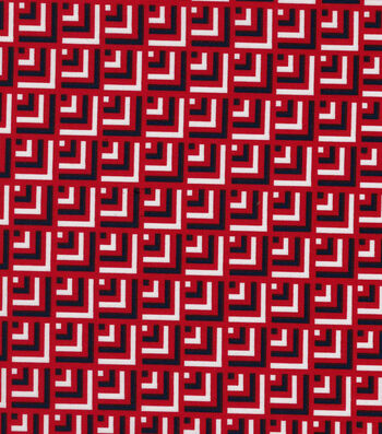 """Quilter's Showcase™ Cotton Fabric 44""""-Red Navy Geometrics Blender"""