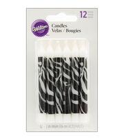 """Wilton® Candles .25""""X3.25"""" 12/Pkg-Zebra Print, , hi-res"""