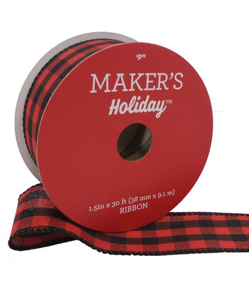 Maker's Holiday Christmas Gingham Ribbon 1.5''X30'-Red & Black