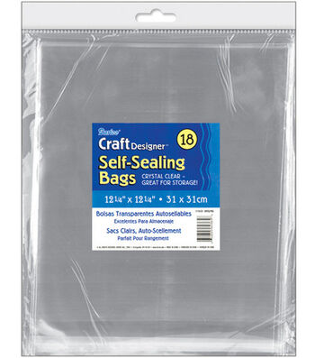 "Self-Sealing Transparent Bags-12-1/4""X12-1/4"" 18/Pkg"