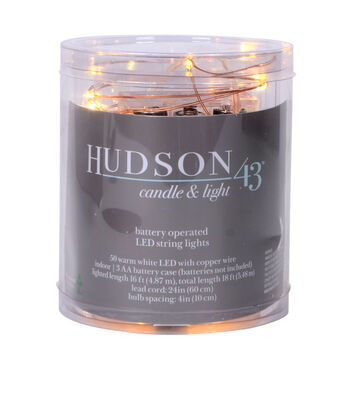Hudson 43 50 ct LED String Lights-Warm White with Copper Wire