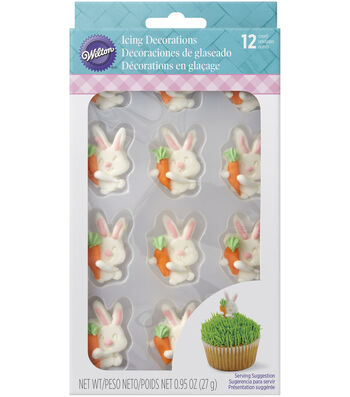 Wilton® Easter 12 pk 0.95 oz. Bunnies Love Carrots Icing Decoration