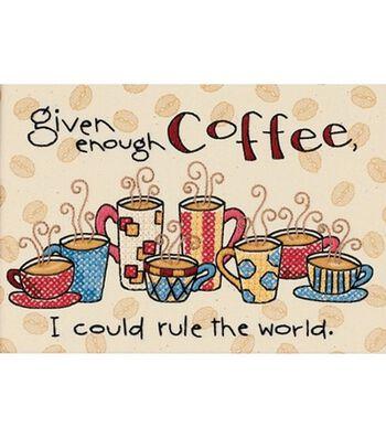 Dimensions Enough Coffee Stmpd  X-Stitch Kit