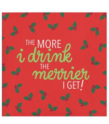 Maker's Holiday 20 pk Beverage Napkin-The More I Drink The Merrier I Get