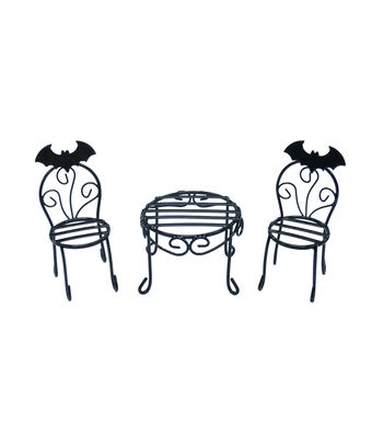 Maker's Halloween Littles Halloween Wire Table & Chairs-Black