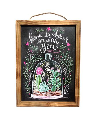 Hello Spring Chalkboard Wall Decor-Succulent Under Glass