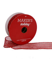 Maker's Holiday Christmas Mini Glitter Mesh Ribbon 1.5''x30'-Red, , hi-res